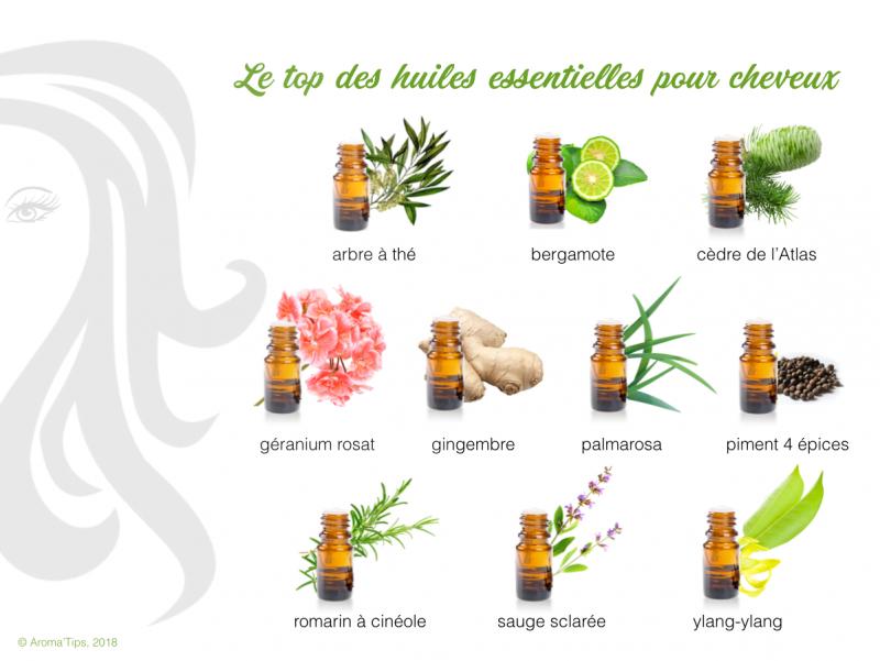 top 10 des huiles essentielles pour les cheveux